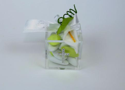 Ballotin cube fleur arum
